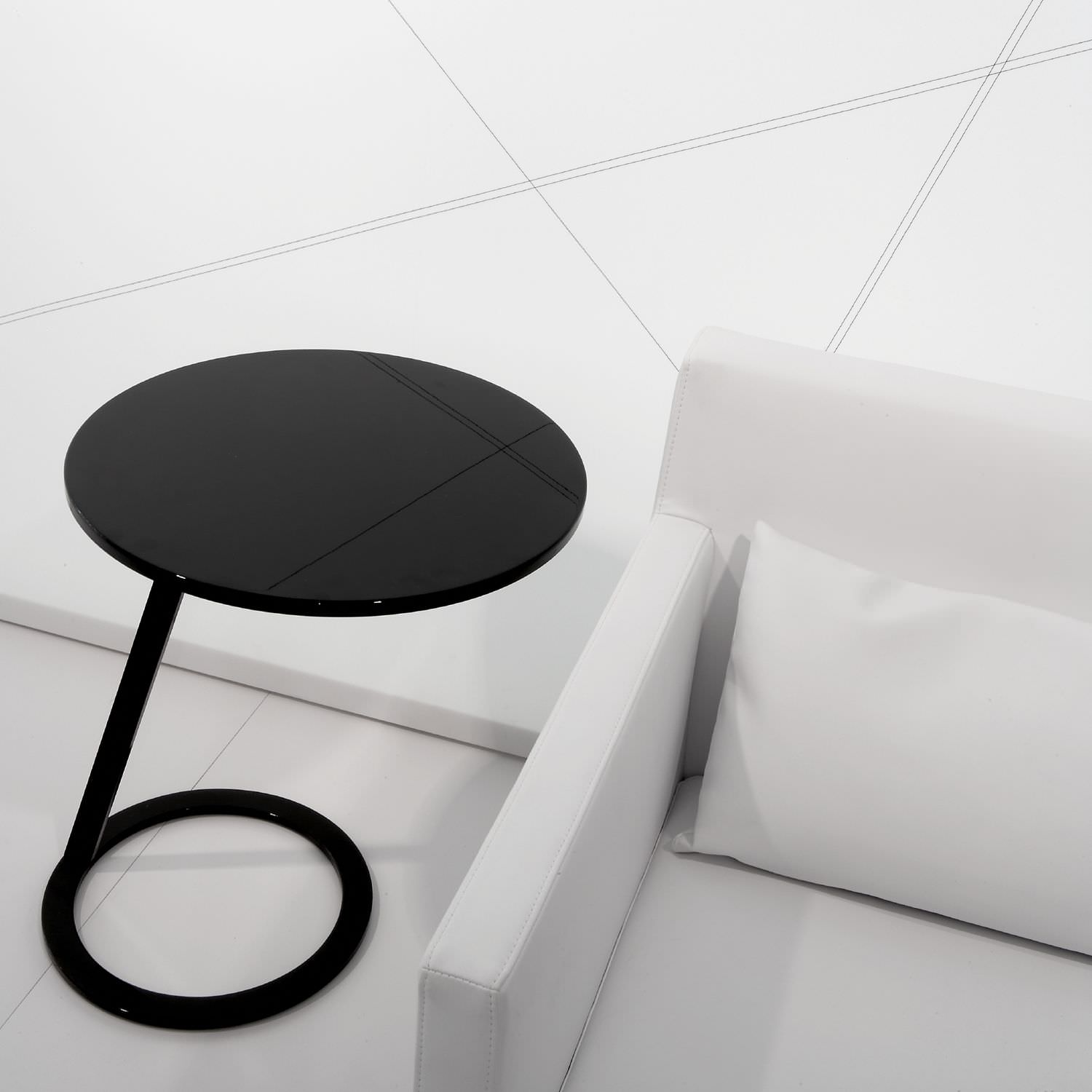 Side table contemporary lacquered aluminum lacquered steel GOOD MORNING by Alban S bastien Gilles
