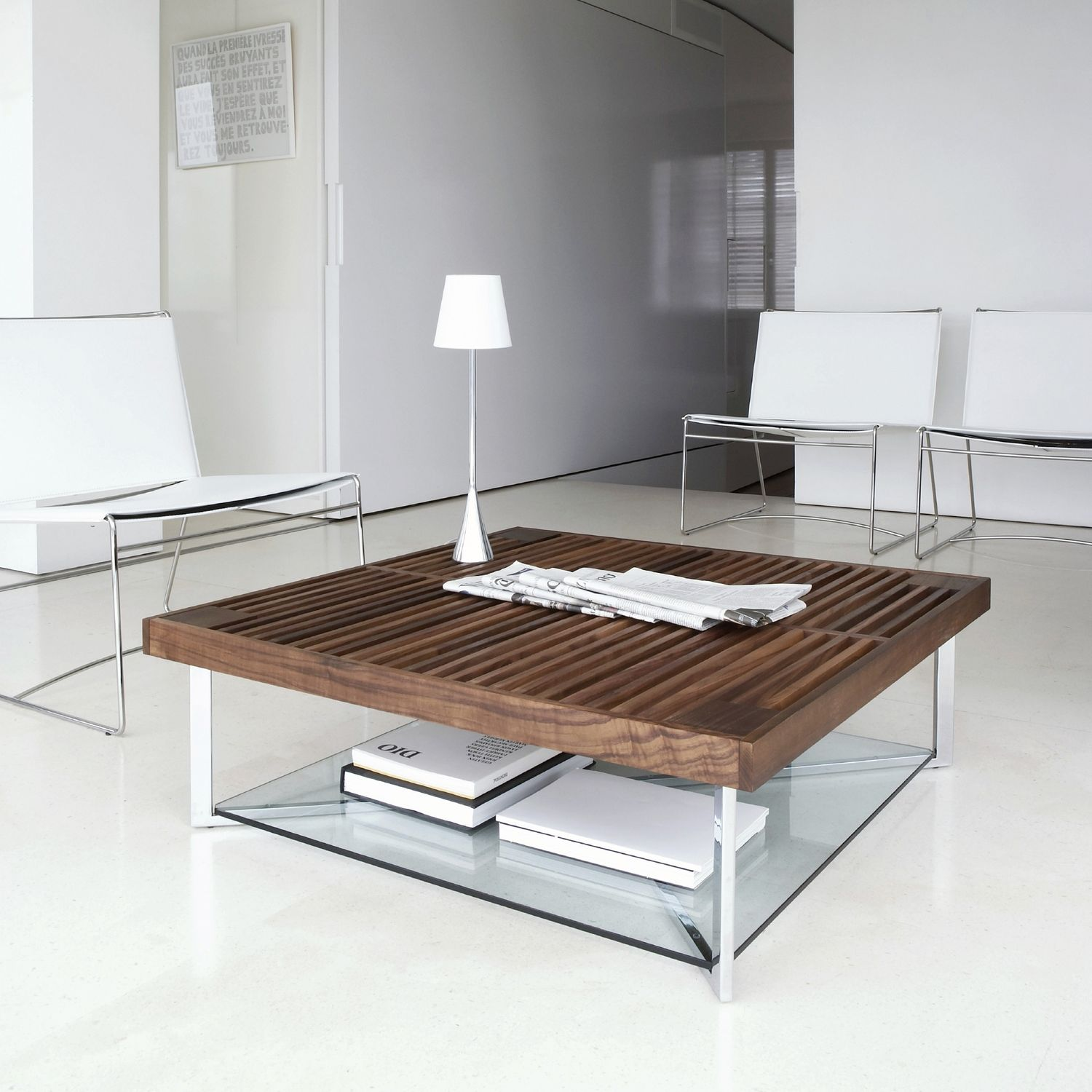 Contemporary coffee table walnut tempered glass chrome steel
