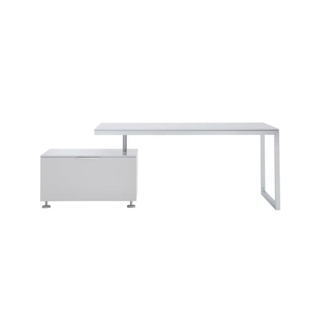 Oak Desk Lacquered Wood Steel Contemporary Everywhere Cinna