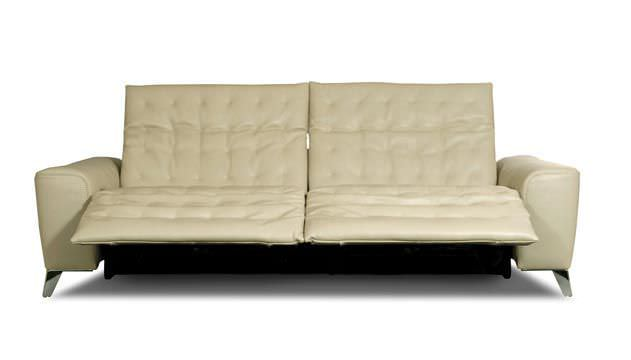 Contemporary Sofa Leather 3 Seater Adjule