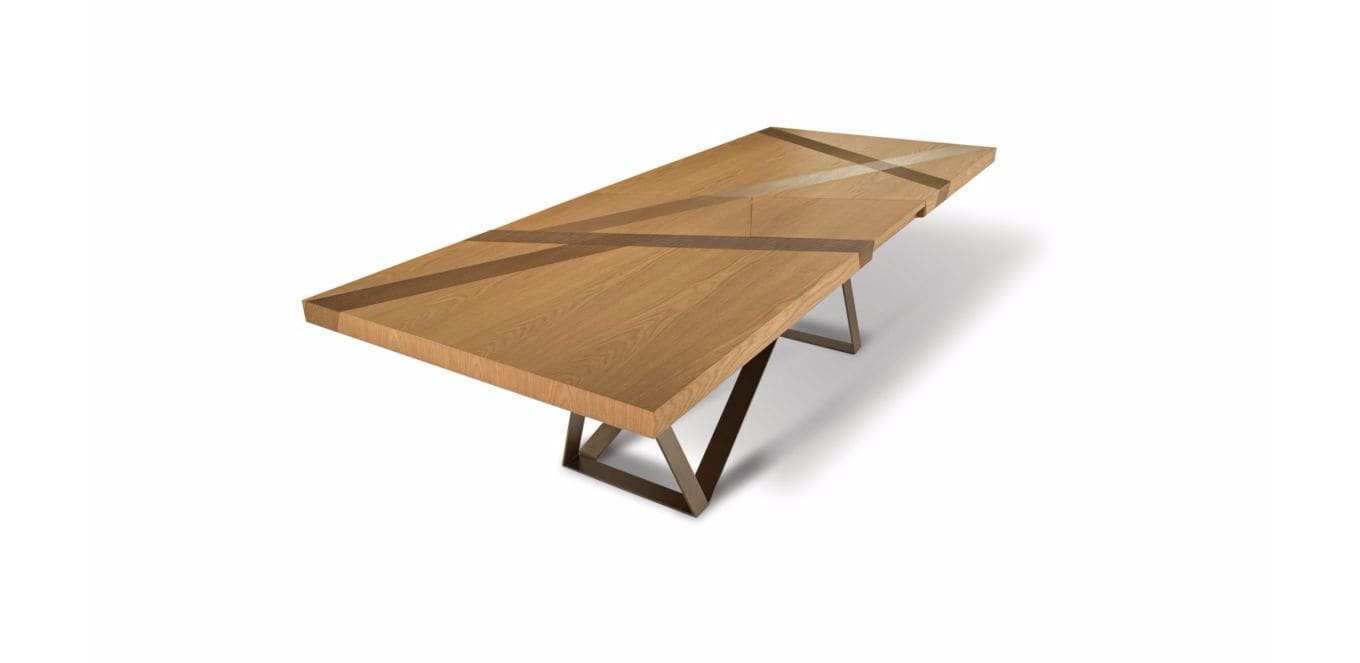 contemporary dining table oak mdf steel