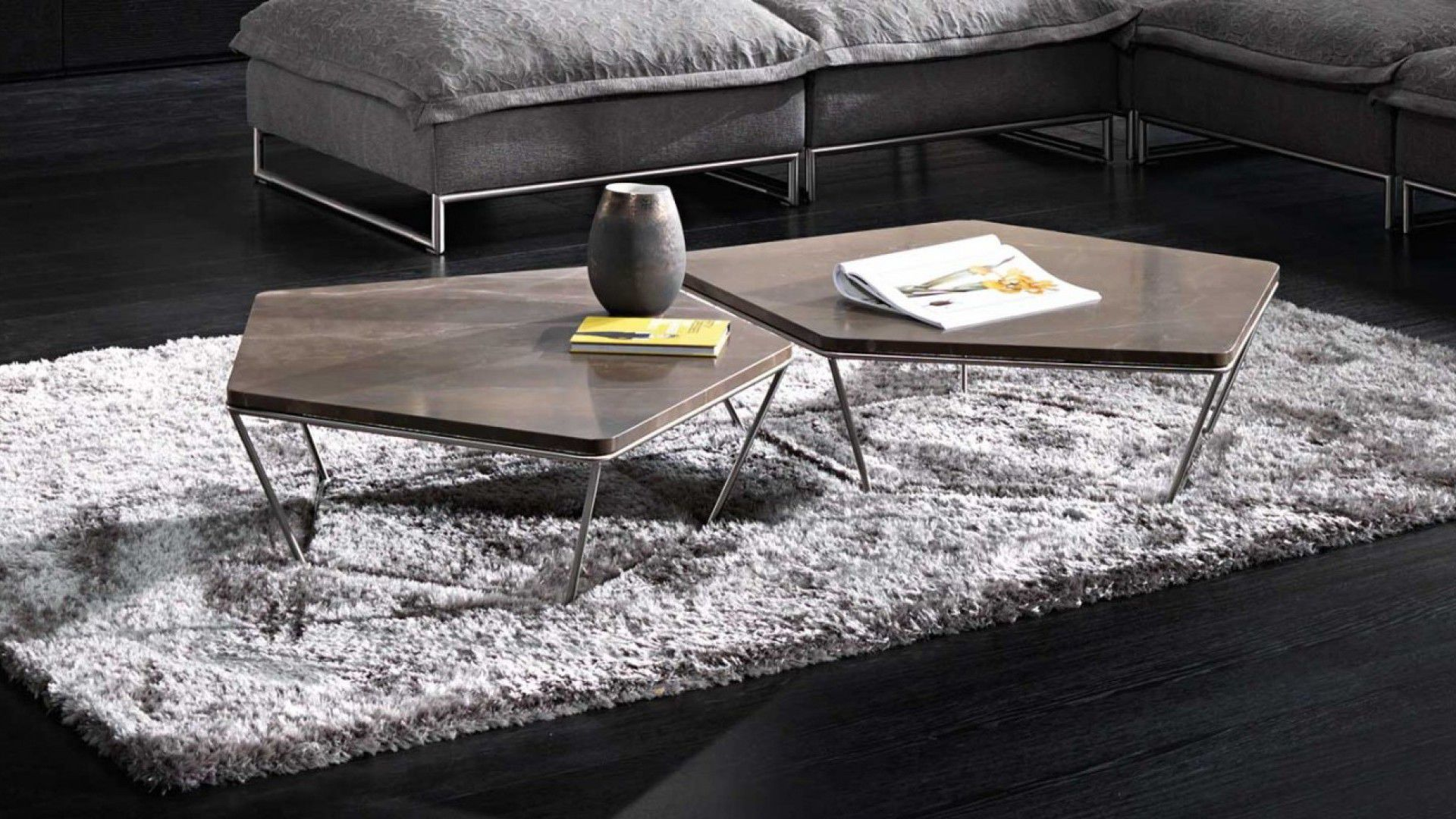 Contemporary coffee table wooden steel marble CHOCOLAT