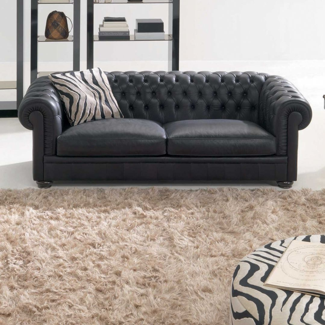 Chesterfield Sofa Leather 2 Person Black King
