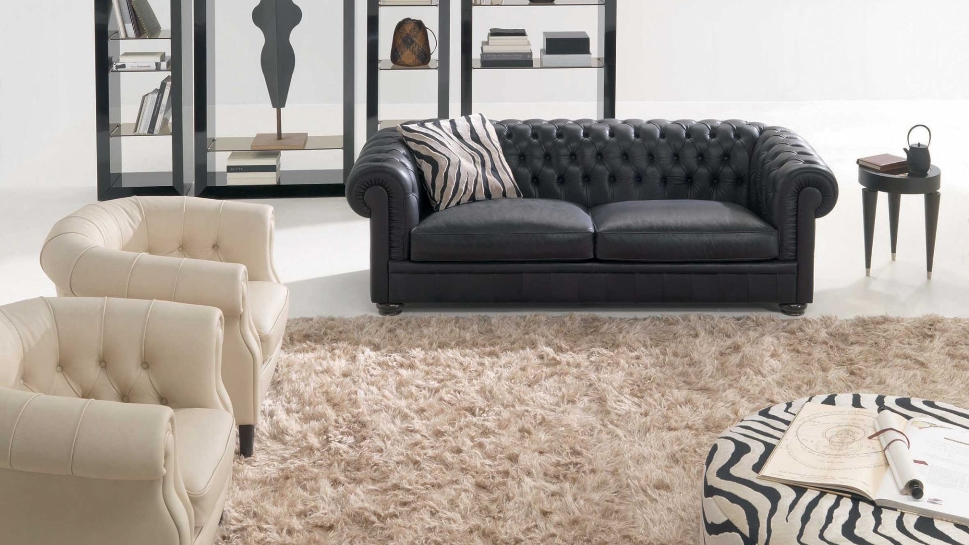 Chesterfield sofa leather 2 seater black KING NATUZZI
