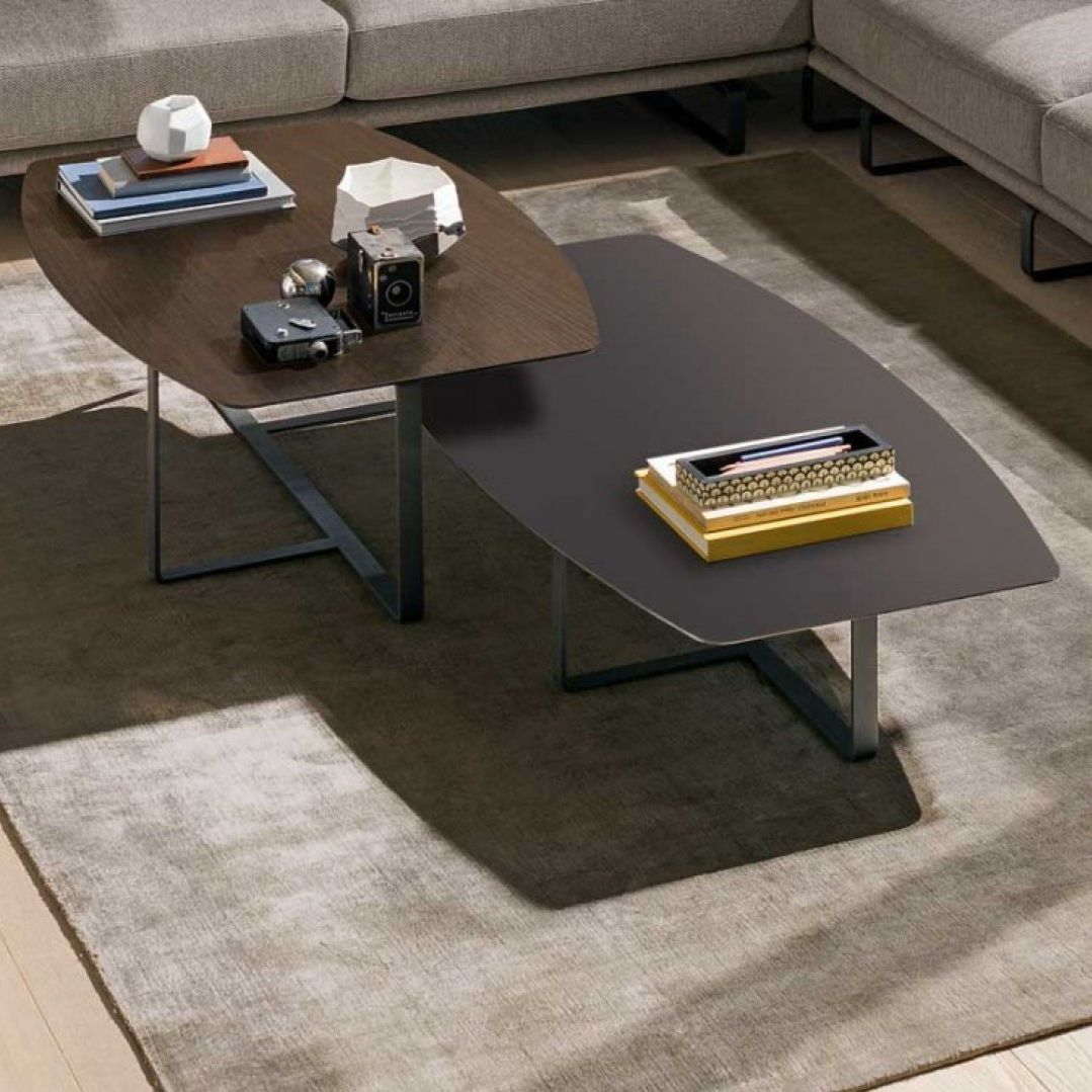 Contemporary Coffee Table Metal Marble Oak Tempo