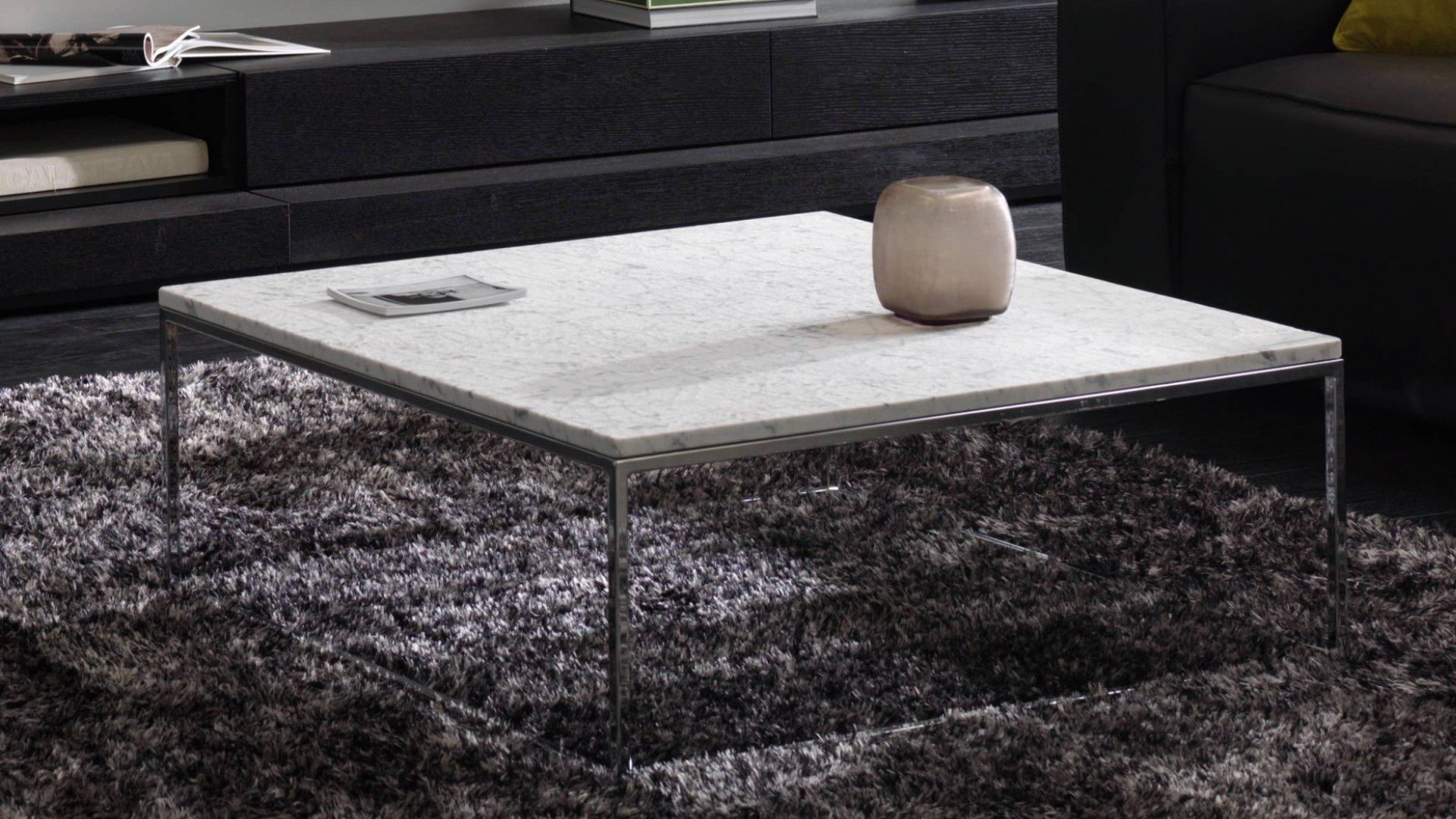 Contemporary coffee table wooden metal marble CABARET
