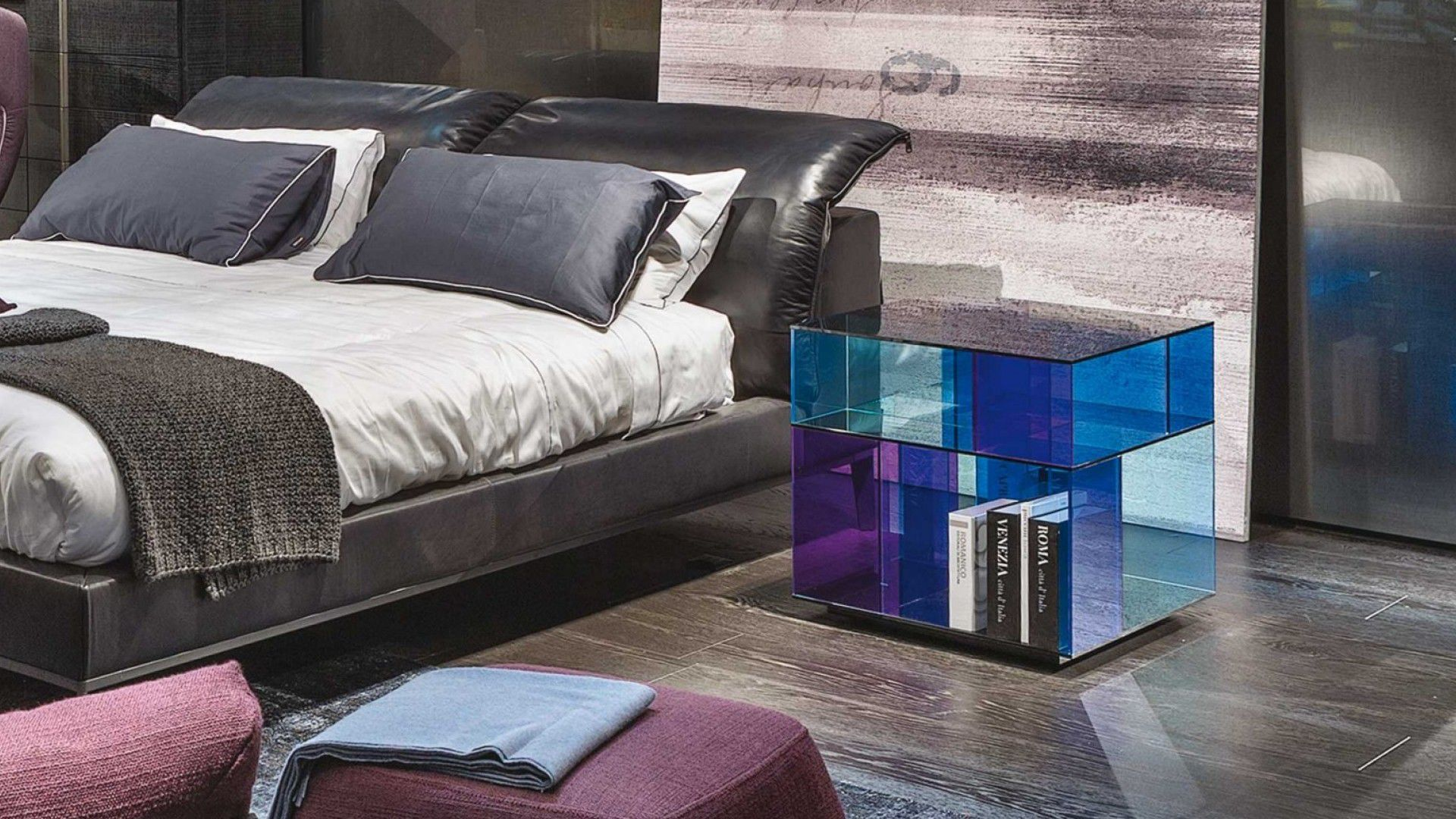 Contemporary bedside table glass rectangular square