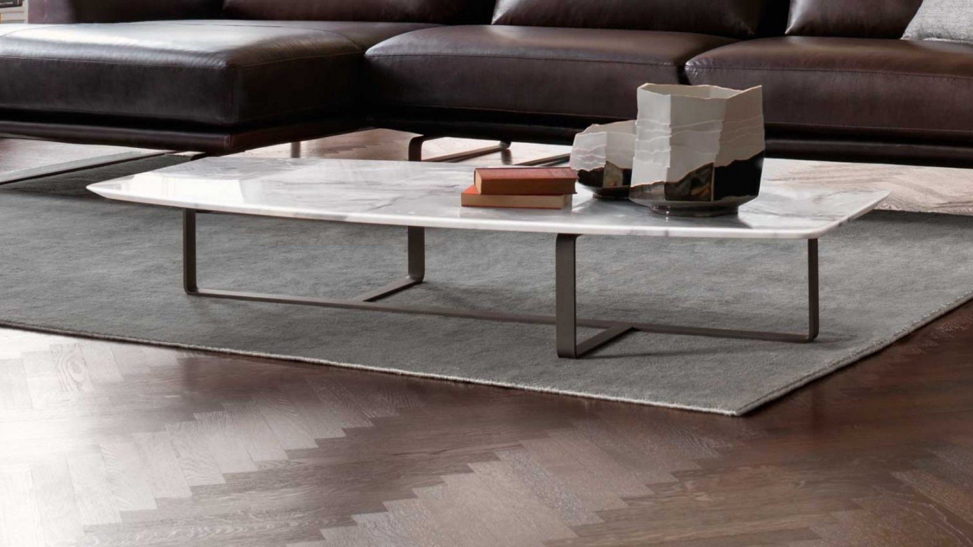 Contemporary coffee table metal marble oak TEMPO NATUZZI