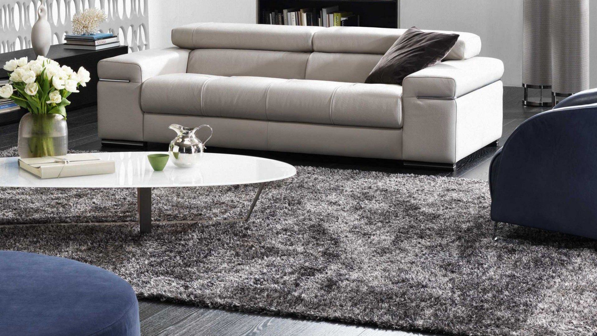 Contemporary Rug Plain New Zealand Wool Polyester