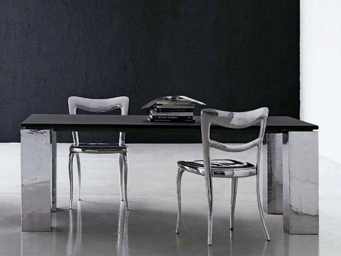 Beau ... Contemporary Dining Table / Metal / Natural Stone / Rectangular TABLE  TOP ITALIAN SLATE HONED SURFACE ...
