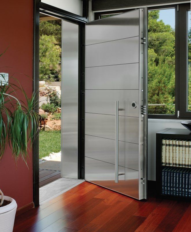 entry door swing stainless steel security tekna porta nova