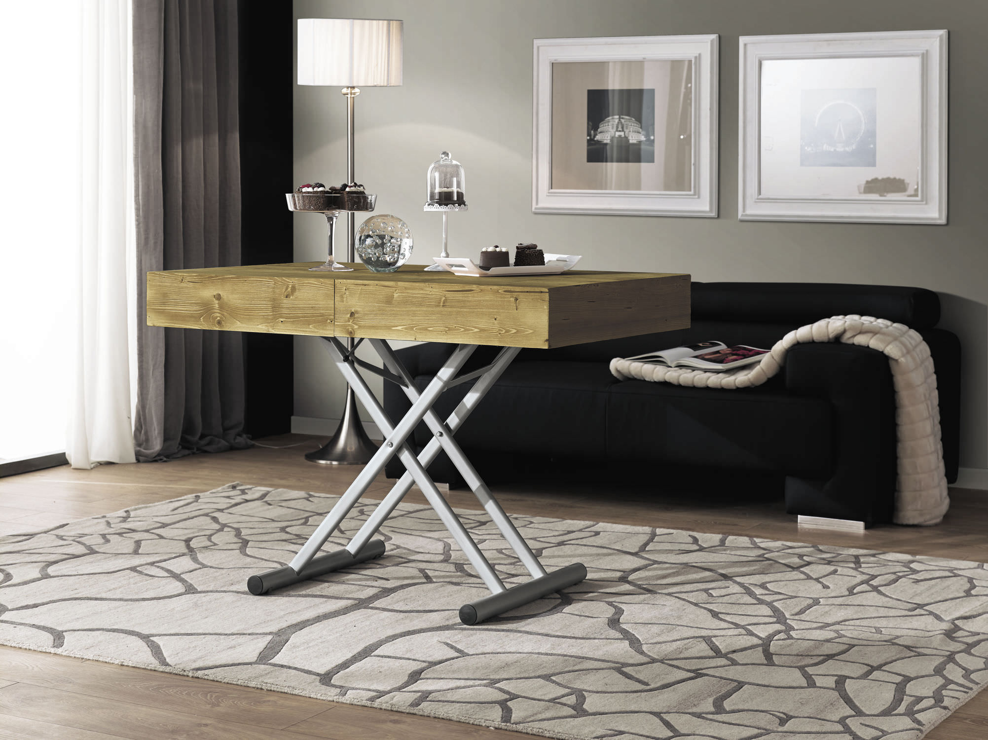 Contemporary coffee table wooden rectangular adjustable