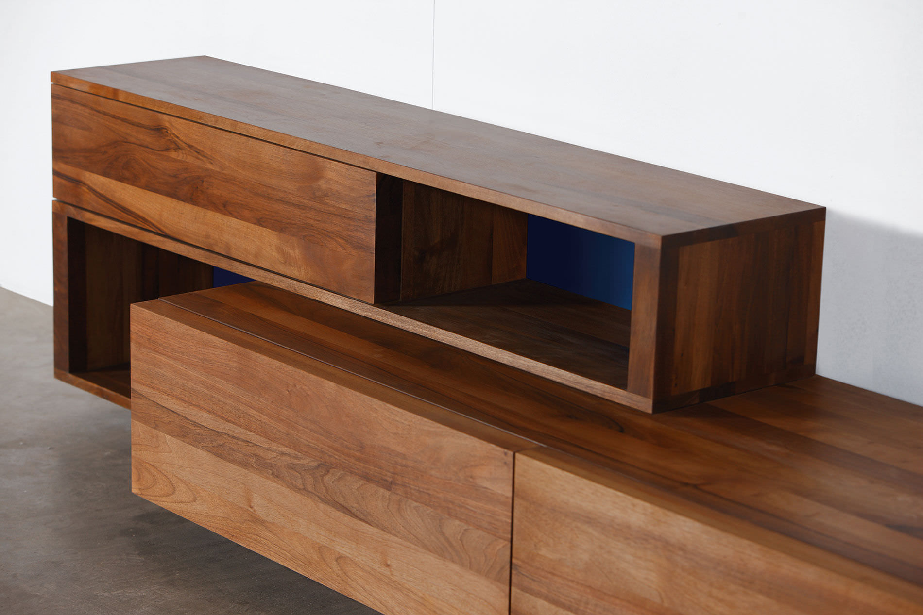 Contemporary sideboard oak walnut solid wood