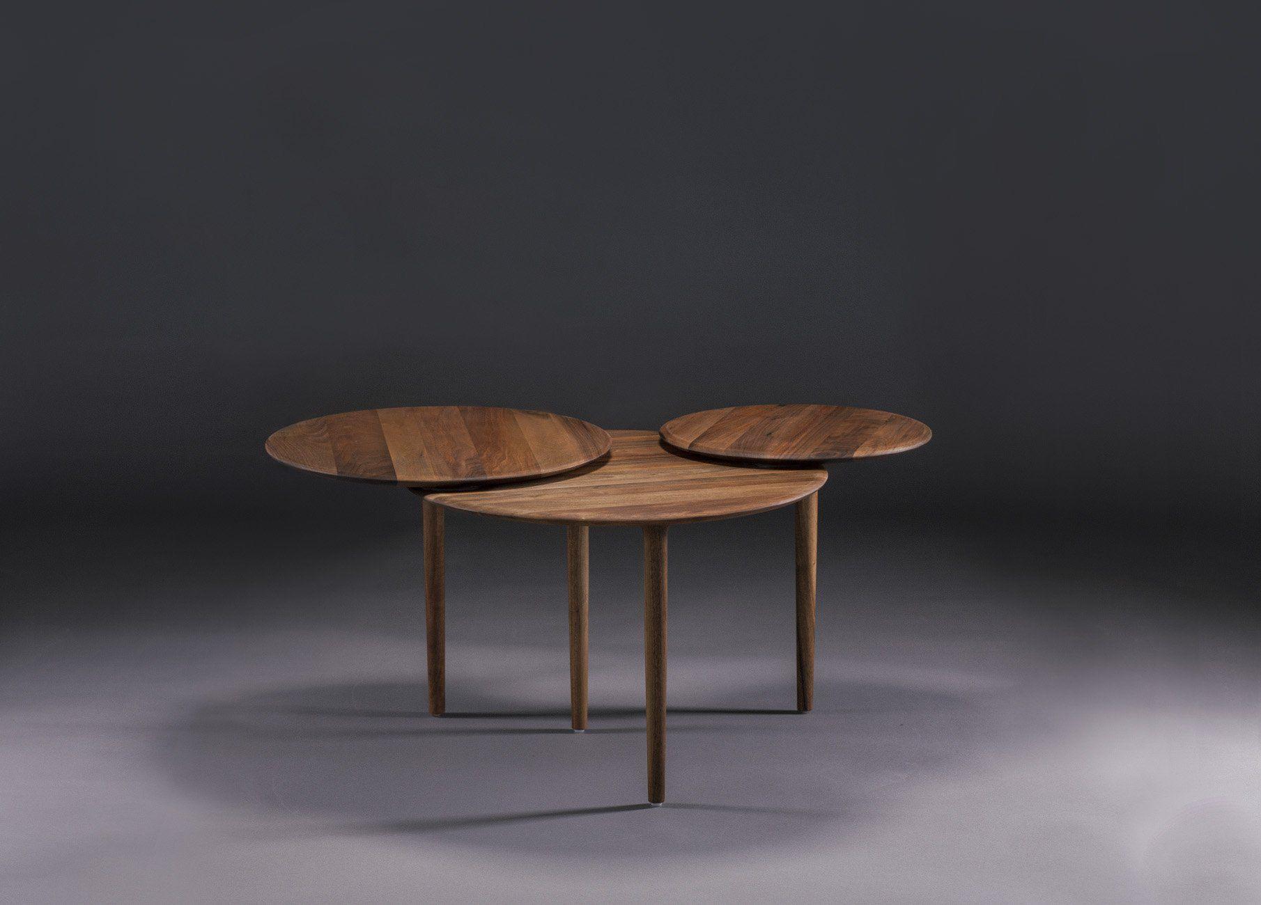 contemporary coffee table oak walnut cherrywood triple by