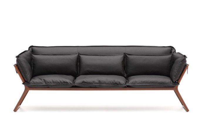 contemporary sofa / leather / solid wood / commercial - stay