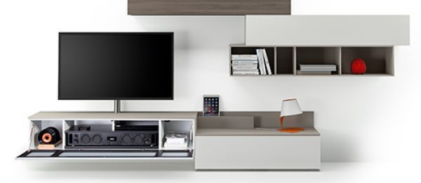 Audio Möbel contemporary tv wall unit lacquered wood modular