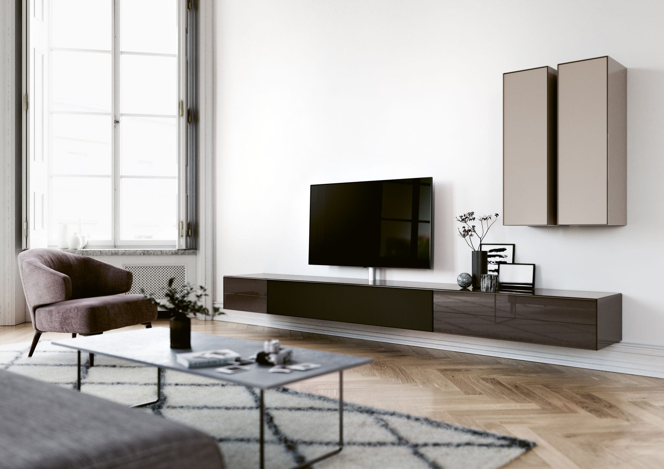 Contemporary Tv Cabinet With Integrated Iphone Ipod Docking  # Spectral Meuble Tv