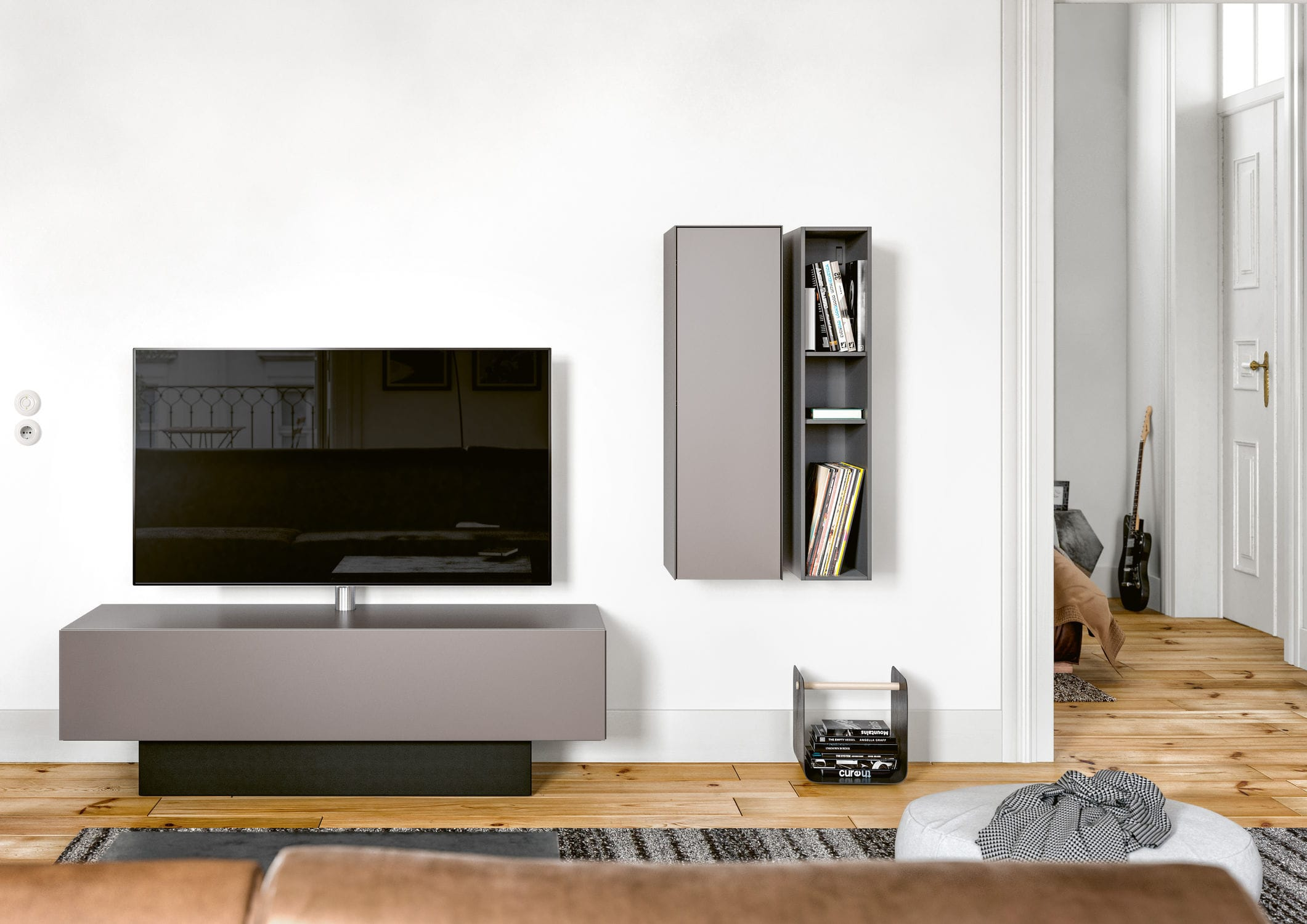 Contemporary Tv Cabinet With Built In Speaker Glass Brick  # Spectral Meuble Tv