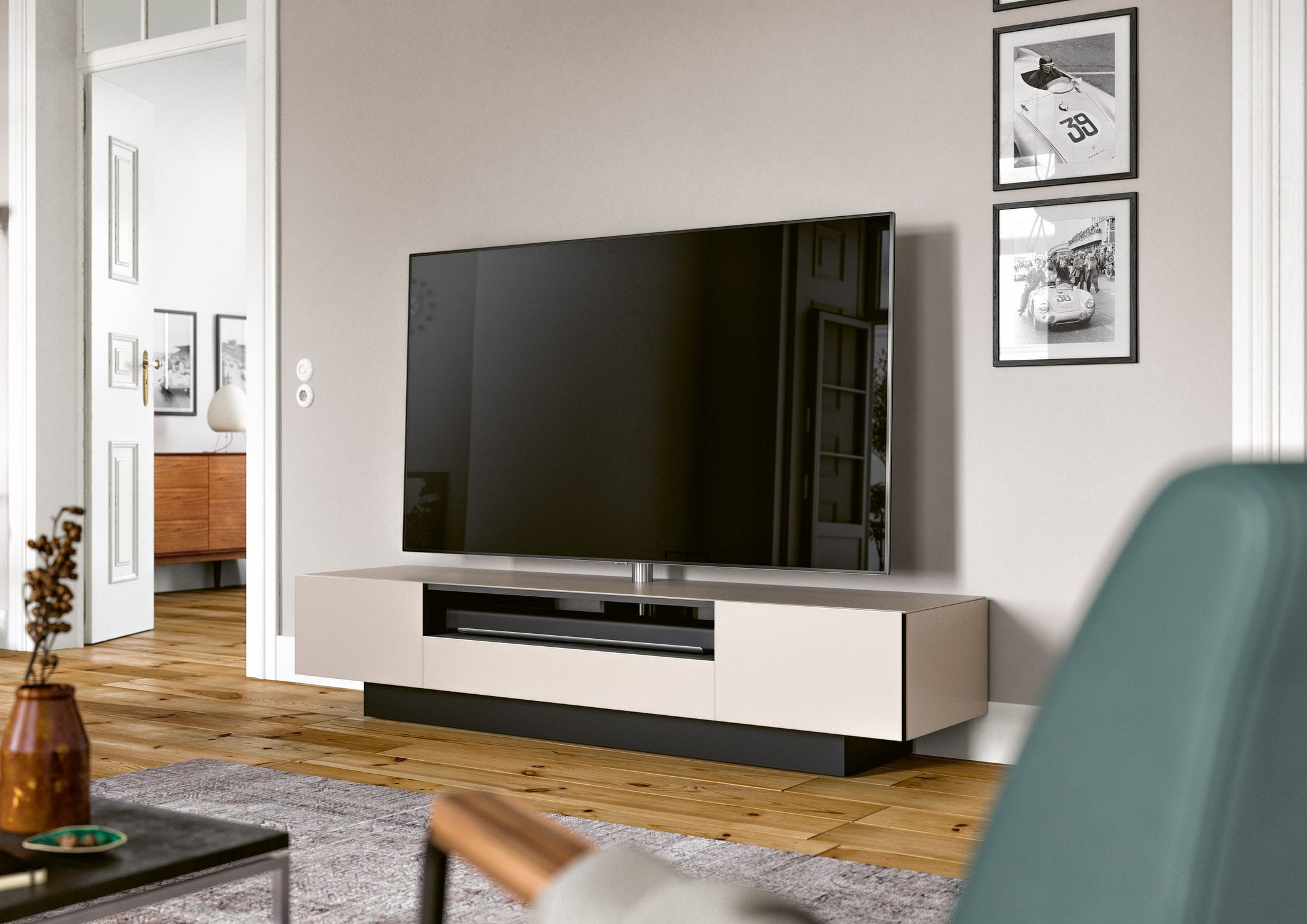 Contemporary TV cabinet with built in speaker glass BRICK
