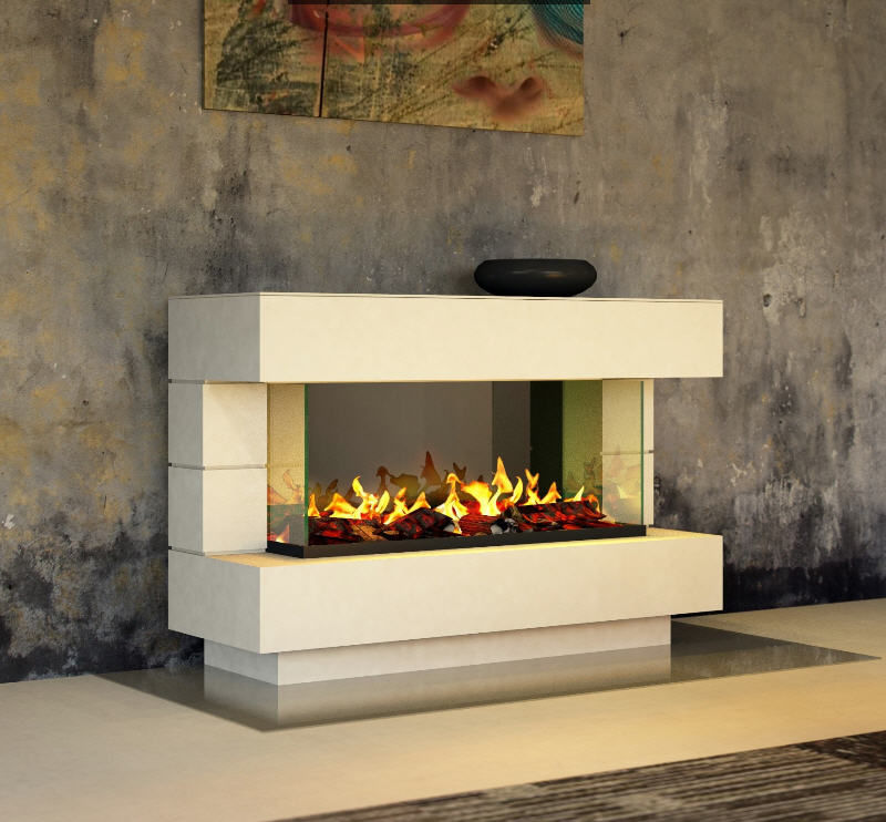 Electric Fireplace Contemporary Open Hearth Floor Mounted