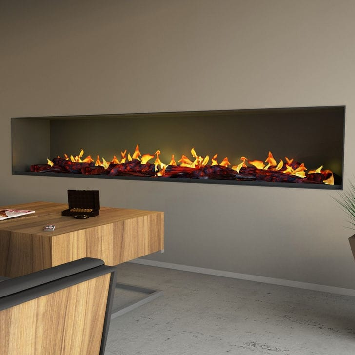 Electric Fireplace Contemporary Open Hearth Built In Wall