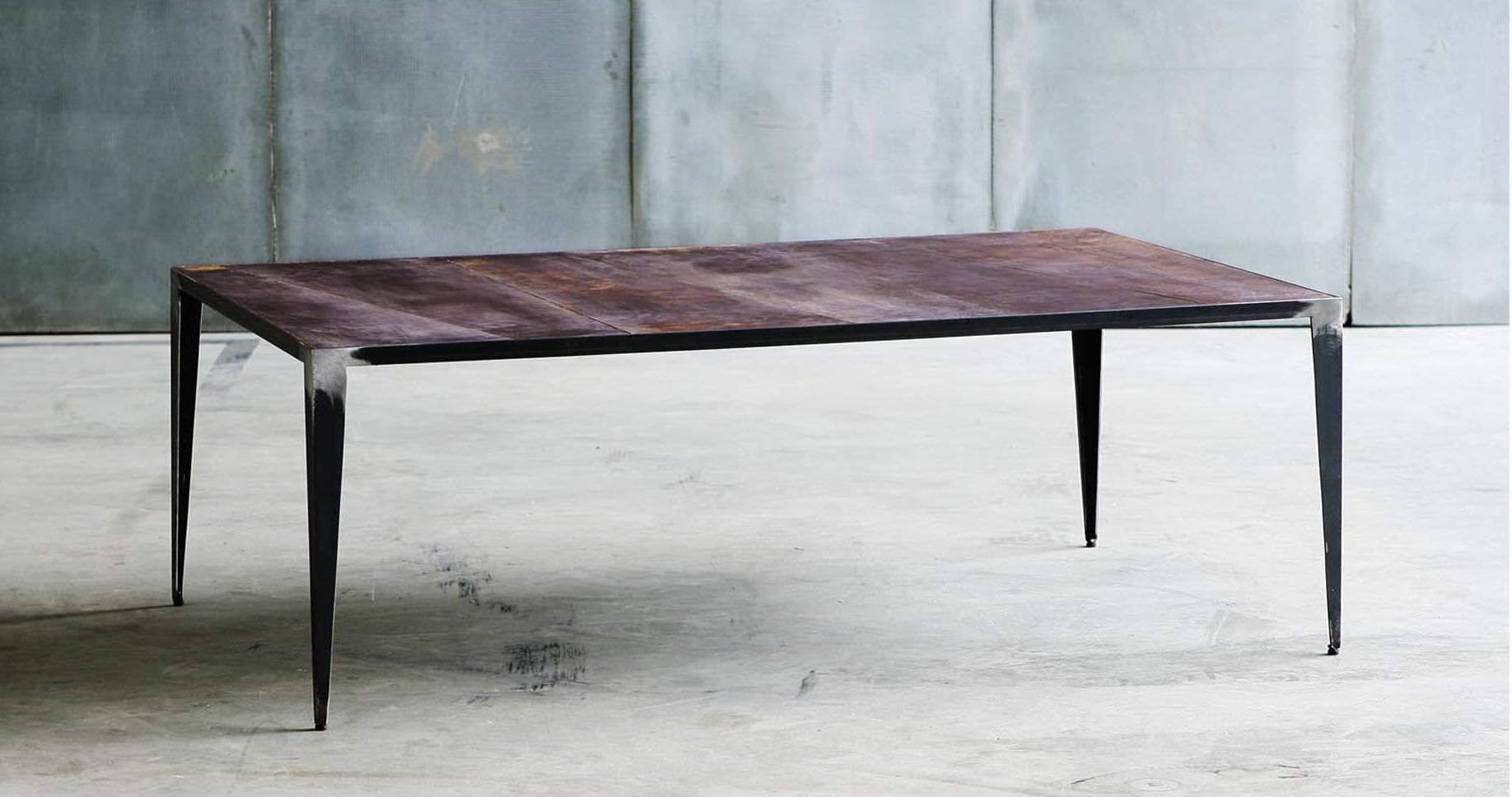Industrial Style Coffee Table / Metal / Leather / Rectangular   ANIMAL Part 73