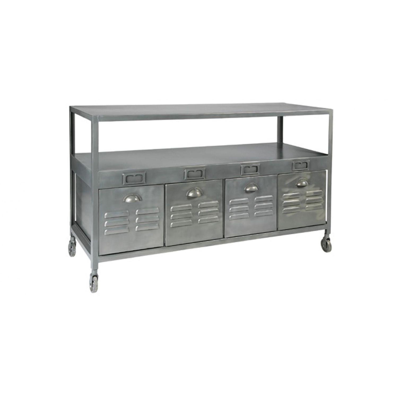 Industrial style sideboard table / brushed metal / rectangular - BRUSHED  STEEL - Industrial Style Sideboard Table / Brushed Metal / Rectangular