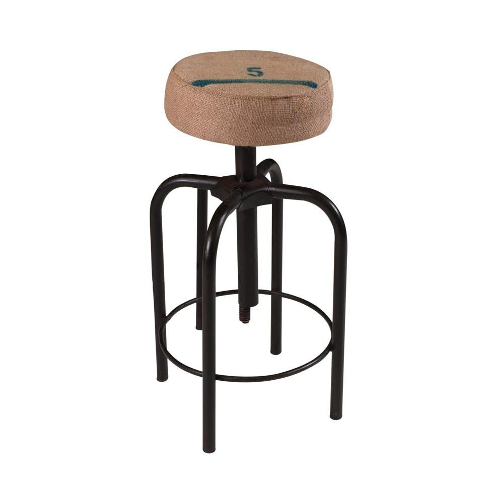 industrial style bar stool metal fabric upholstered canvas