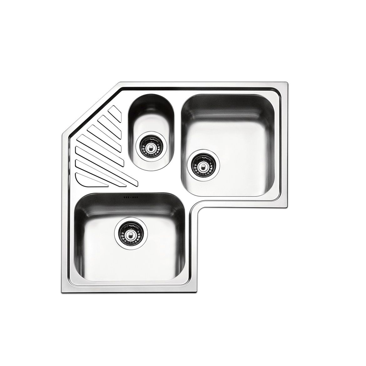 Triple Bowl Kitchen Sink / Stainless Steel / Corner / With Drainboard    ANGOLO : ROAN3I