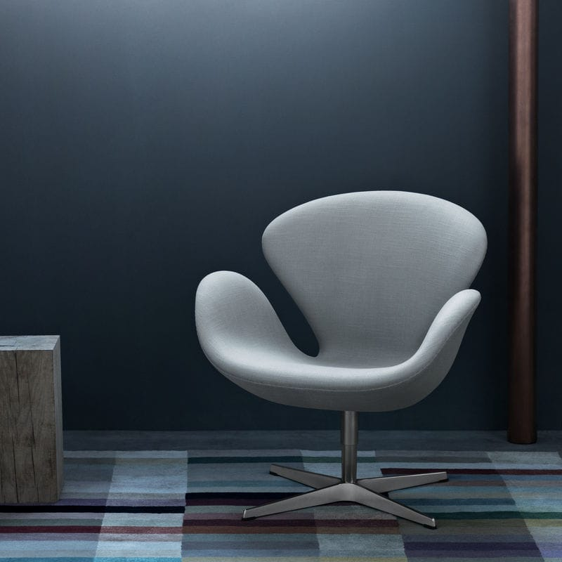 Scandinavian Design Armchair Fabric Leather Chrome Steel Swan