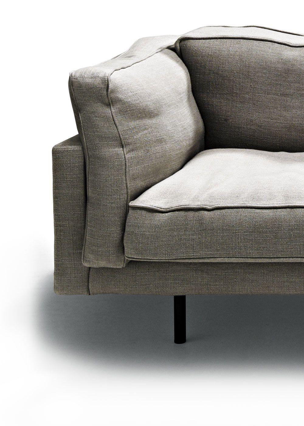 Contemporary sofa / leather / steel / fabric - SQUARE 16 - DePadova