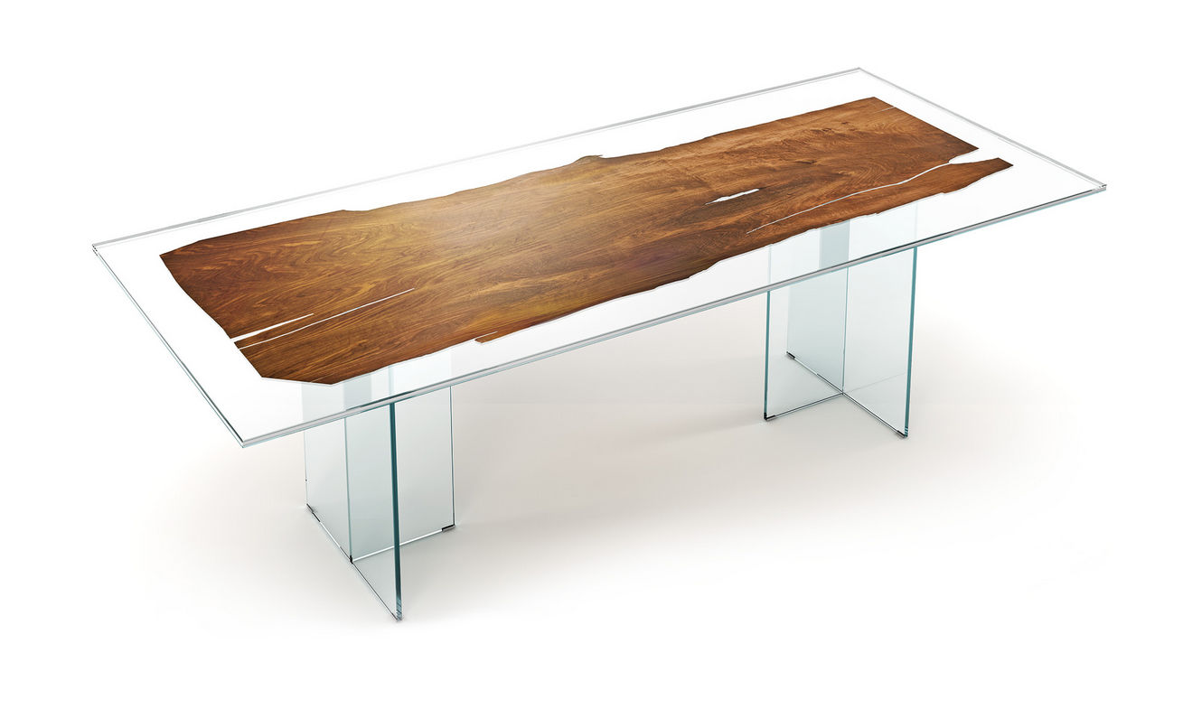 Elegant Contemporary Table / Wooden / Glass / Rectangular   VELIA