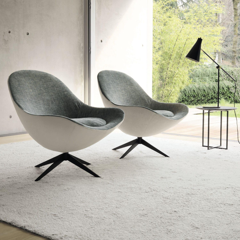 Contemporary Armchair / Fabric / Metal / Star Base ...