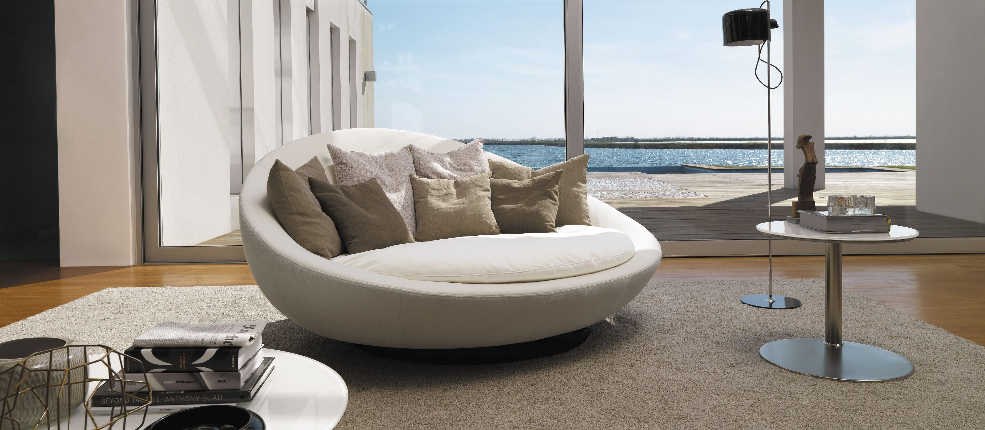 Beau Round Sofa / Contemporary / Leather / Fabric ...