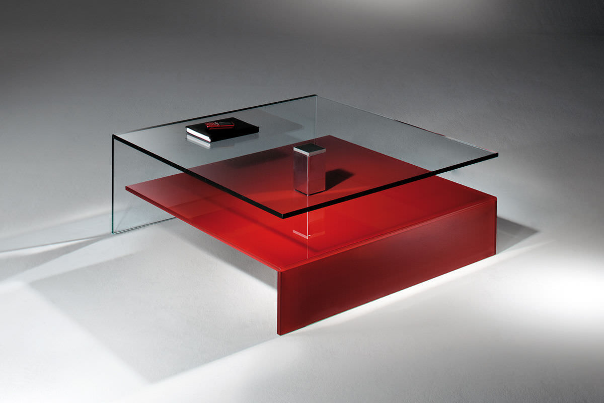 Contemporary Coffee Table / Glass / Polished Stainless Steel / Stainless  Steel   NUO By Jürgen Sohn