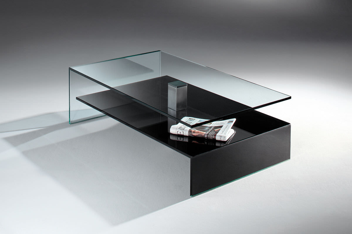 ... Contemporary Coffee Table / Glass / Polished Stainless Steel /  Stainless Steel NUO By Jürgen Sohn