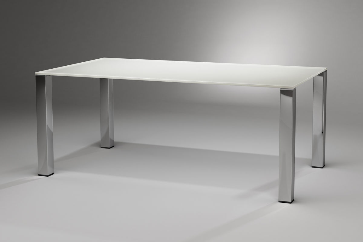... Contemporary Dining Table / Glass / Stainless Steel / Rectangular
