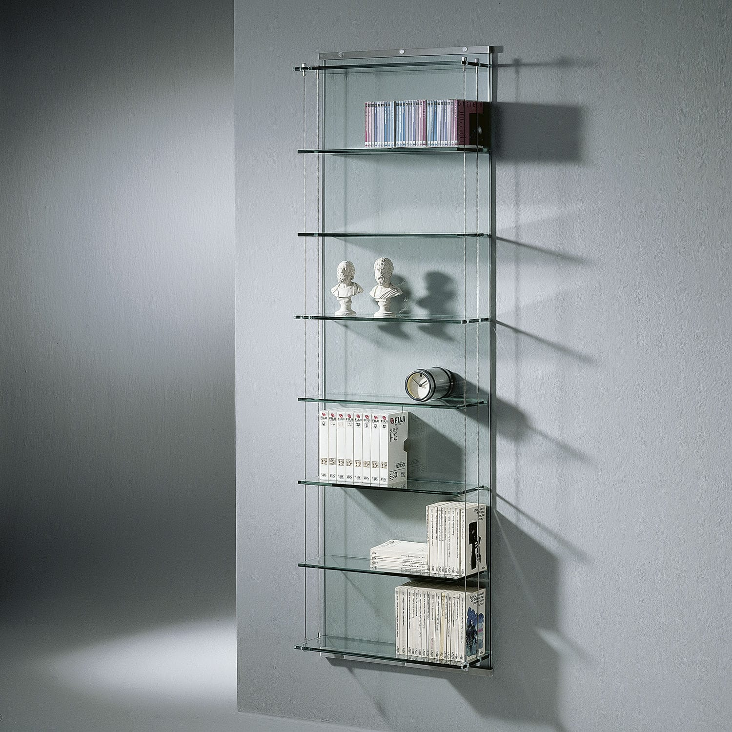 Wall-mounted shelf / contemporary / stainless steel / glass ...