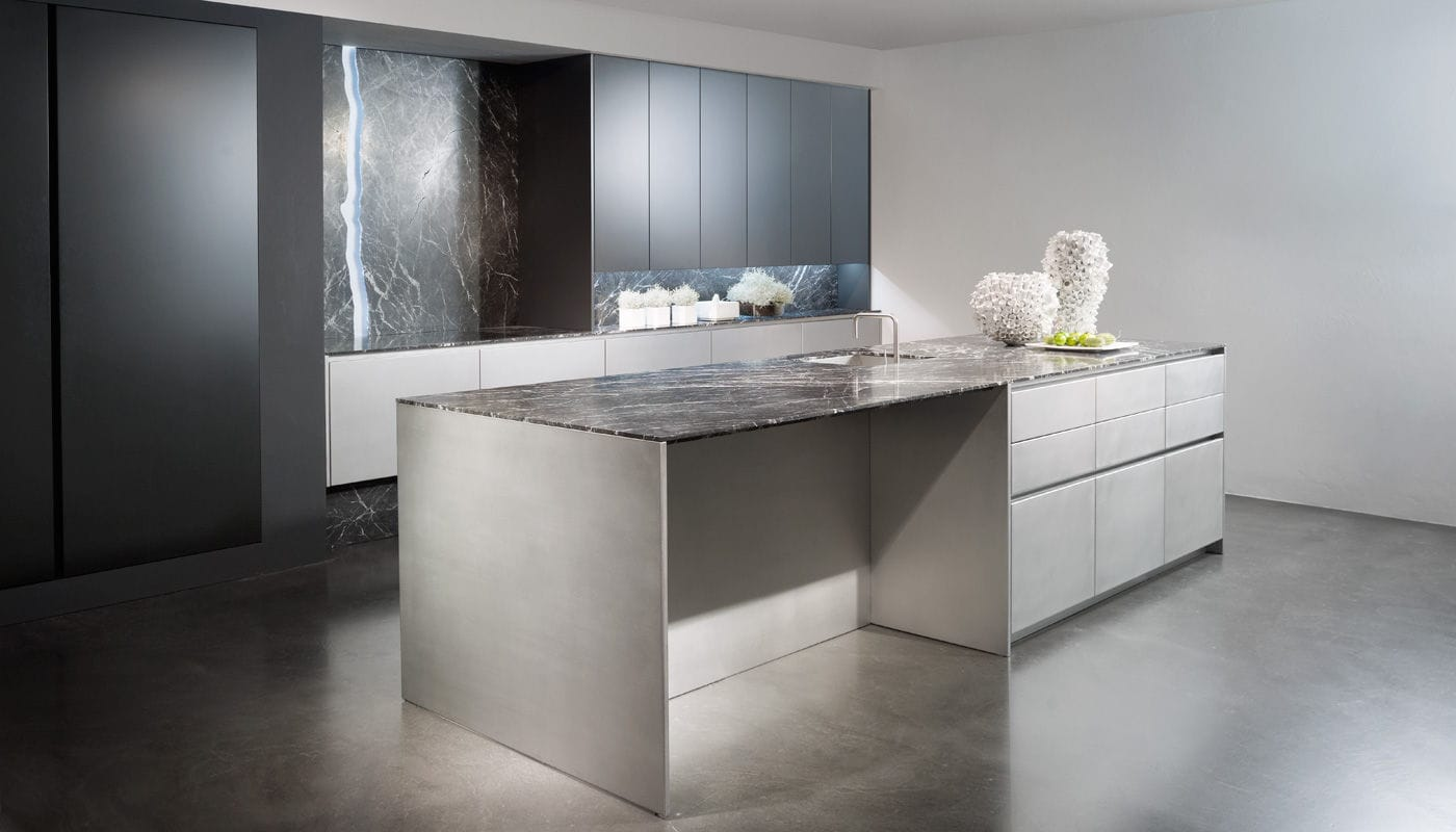contemporary kitchen stainless steel island lacquered