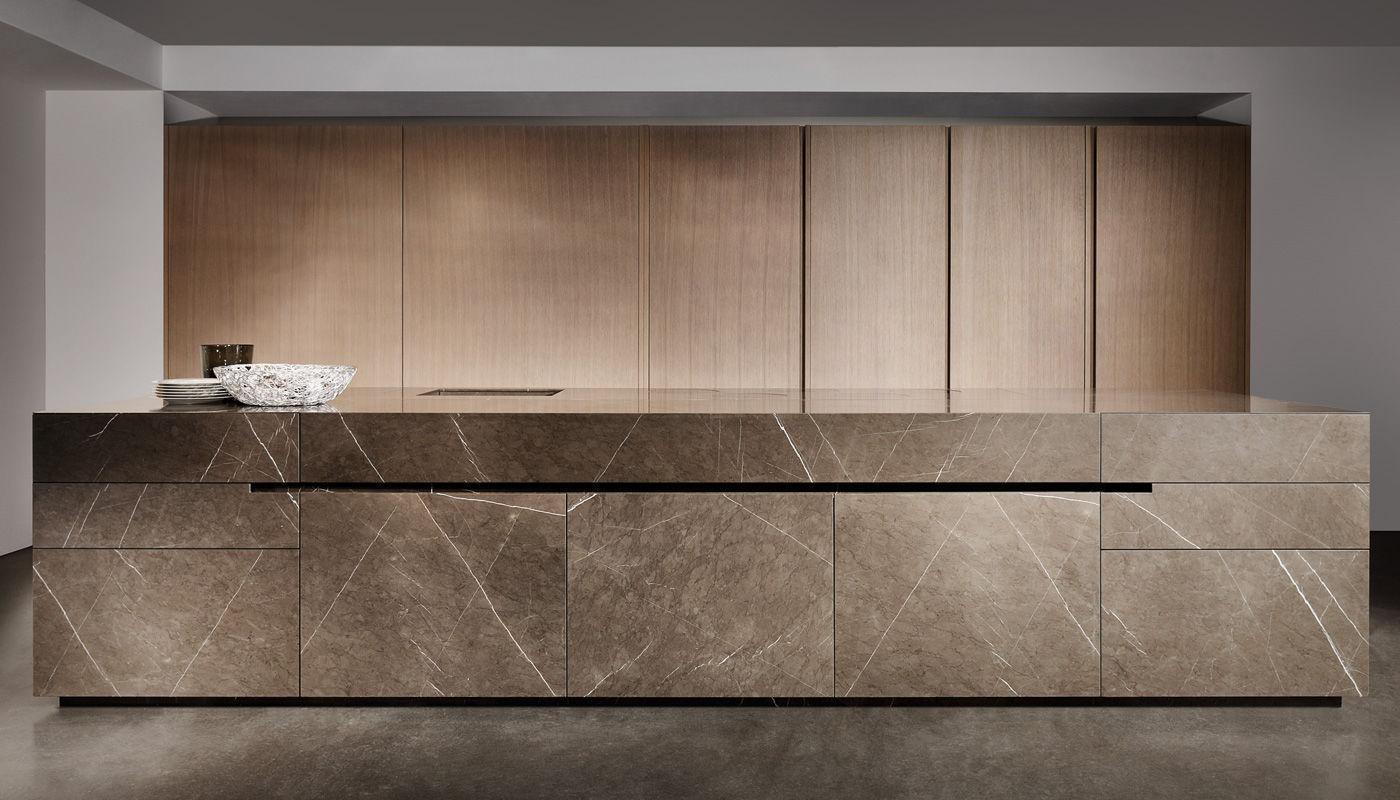 Eggersmann Küchen contemporary kitchen oak wood veneer grafite brown ii