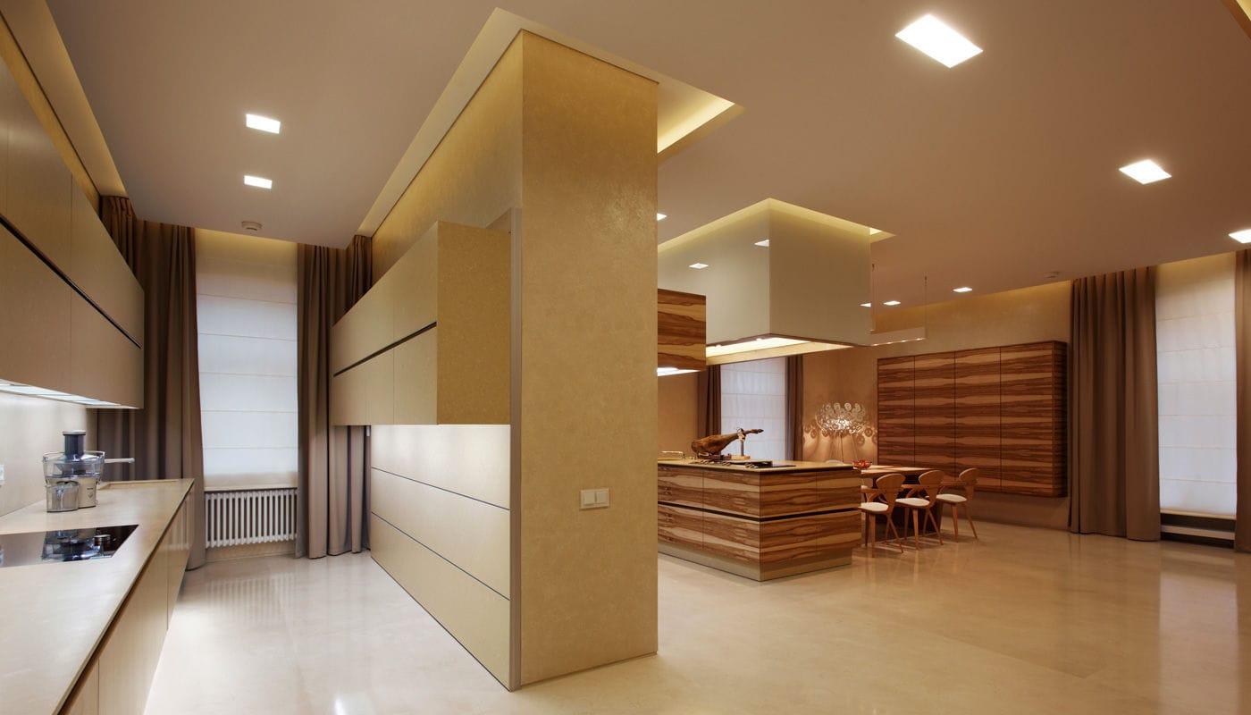 Küchenbau Berlin contemporary kitchen walnut island handleless penthouse