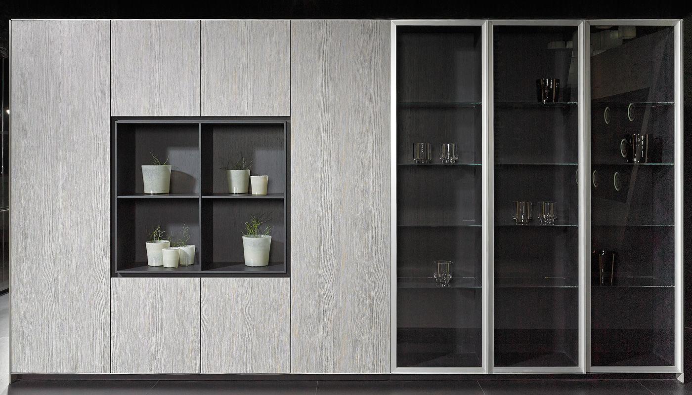 contemporary kitchen stone island lacquered elegant brown