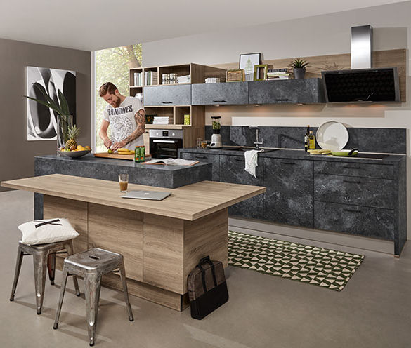 Express Küchen contemporary kitchen wooden concrete island beton express
