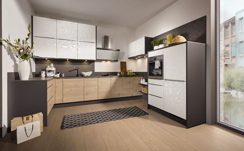 Cube Küchen contemporary kitchen wood veneer lacquered wood island cube