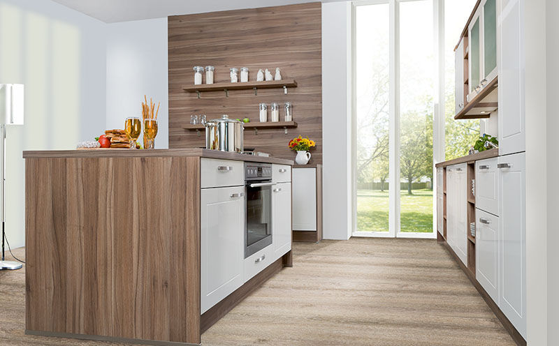 Express Küchen contemporary kitchen wood veneer lacquered wood island royal