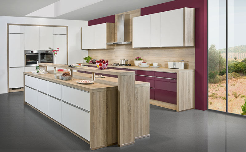 Contemporary kitchen / wood veneer / lacquered wood / island - SKY ...