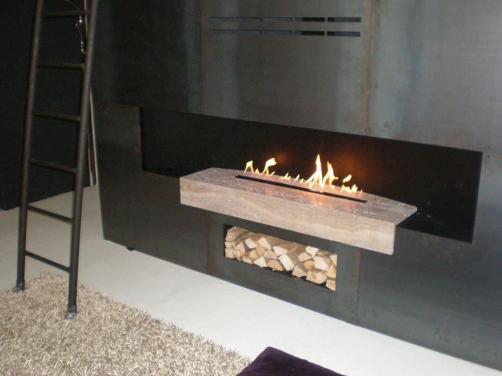 Gas fireplace contemporary open hearth 3sided BESPOKE