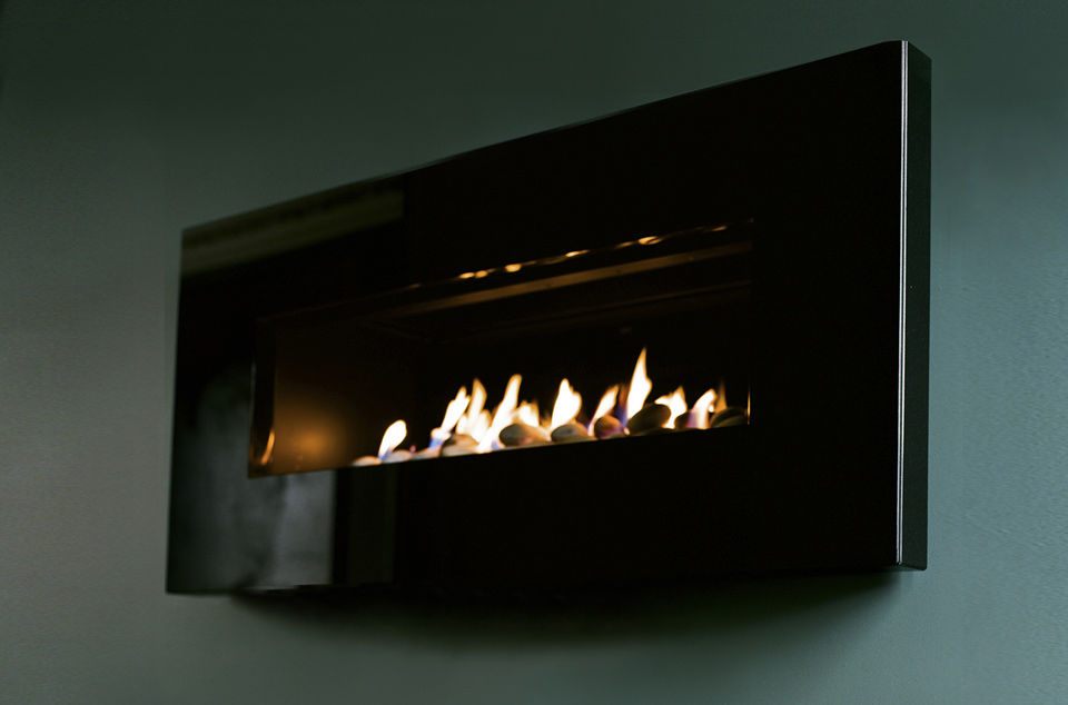Gas Fireplace Contemporary Closed Hearth Wall Mounted X Fire