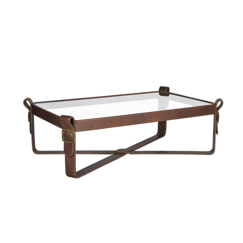 Contemporary Coffee Table Leather Tempered Gl Round Swashbuckler