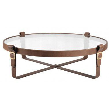 contemporary coffee table / leather / tempered glass / round